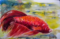 """Una idea, mucho arte""""El acuario de Ignacio"""" Acuarela, papel Canson 300 g. 13,5 x 21 cm Autora  Pilar Vicario"""