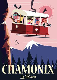 « Affiche Chamonix » par Gary Godel | Redbubble Vintage Ski Posters, Chamonix, Travel Cards, Vintage Drawing, Book Images, All Poster, Illustrations, Charlie Adam, Snow