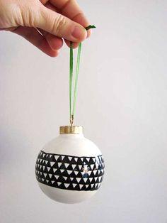 Black and white porcelain DIY ornament 12 DIY Christmas Ornaments for a Festive Tree