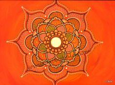 "Orange Mandala, 2012. 9"" x 12"", Textured henna style acrylics mandala painting on canvas panel with mirror. © Bala Thiagarajan, 2012. www.artbybala.com"