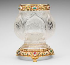 Rock crystal vase with gold, enamel, cabochon rubies, emeralds and sapphires. Mikhail Evlampievich Perkhin (1860-1903) (workmaster). Circa 1903