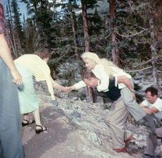 Marilyn with Allan 'Whitey' Snyder on the set of River of No Return, 1953.