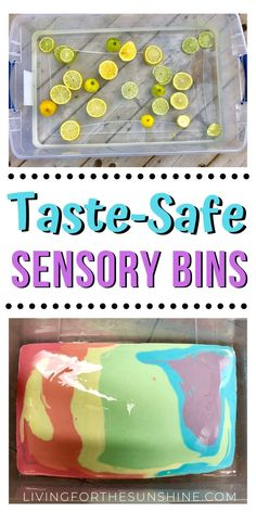 Are you hoping to start using sensory bins with your taste-safe sensory bin ideas or toddlers who are still putting things in their mouths. Toddler Sensory Bins, Baby Sensory Play, Sensory Activities Toddlers, Toddler Play, Baby Play, Infant Activities, Infant Play, Toddler Stuff, Activities For 1 Year Olds