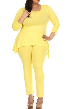 Plus Size Solid Two-piece set with asymmetric hem top and straight leg pants.   Yellow Plus Set by Sexy Diva . Clothing - Matching Sets New Jersey