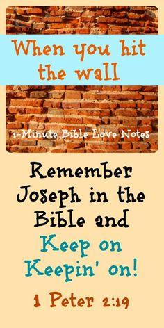 Joseph persevered, 1 Peter 2:19