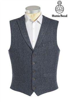 Buy Blue Tailored Fit Herringbone Harris Tweed Signature Waistcoat from the Next UK online shop Tweed Waistcoat, Wool Vest, Tweed Men, Tweed Jacket, Cotton Blazer, Harris Tweed, Blazers For Men, How To Roll Sleeves, Mens Suits