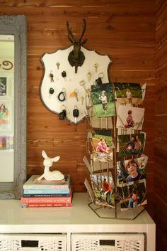 Vintage card rack as photo display