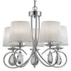 This Angelique Chrome 5 Light Ceiling Fitting with Glass Pear Drop Decoration and White Ruffled Shades is both classic and modern. Elaborate curved hoops finished in polished chrome spill out from the central column, to support the five hand-ruffled, plea Pleated Shade, Ceiling Lights, Ceiling Pendant Lights, Pendant Lamp, Light Fittings, Candle Lamps, Pendant Light Fitting, Chandelier Shades, Bedroom Ceiling Light