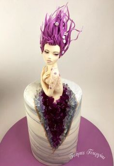 my version of geode cake… I made the topper with modeling sugar paste without any molds