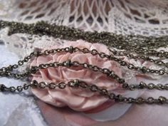 Antique Bronze  Very Dainty Bead Chain  1 Yard  by CrystalandRust, $2.49