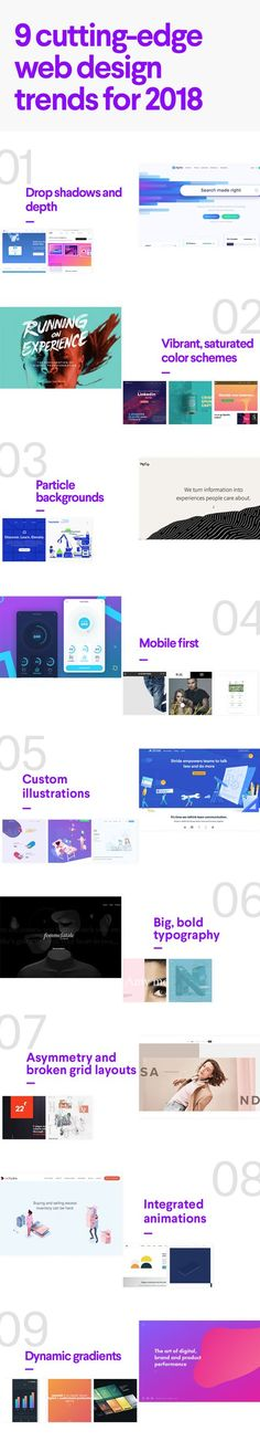 9 cutting-edge web design trends for 2018. From drop shadows and particle animations to saturated color schemes and dynamic gradients, web design has a lot to look forward to in the coming year! #2018graphicdesigntrends #webdesigntrends #graphicdesigntrends