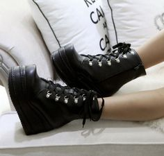 Sz Plus Womens Lace Up Platform Muffins Wedge Punk Rock Gothic Ankle Boots Shoes