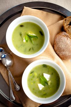 Pea, edamame, and mint soup. There are several other healthy soups on this blog...