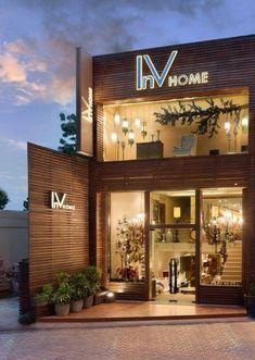 n shop front design, coffee shop design, shop facade. Design Shop, Coffee Shop Design, Shop Front Design, Store Design, House Design, Design Exterior, Facade Design, Design Comercial, Luxury Store
