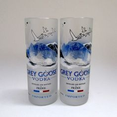 Items similar to Drinking Glasses Set of 2 - Recycled French Vodka Bottle Cups - Unique/Rare Kitchenware - Upcycled Housewarming/Hostess Gift on Etsy Liquor Bottles, Vodka Bottle, Grey Goose, Drinking Glass, Yummy Eats, Flute, Pillar Candles, Recycling, Diy Projects