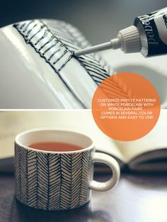 DIY (chevron) mug. THIS type of paint is made for drawing on porcelain, unlike a sharpie which will fade off.