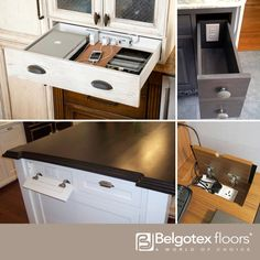 Plug outlet points and loose cables can be unsightly, but not with a little clever innovation. Hide outlets in the back of a drawer where you can place recharging devices out of the way. Or build in secret compartments which can be opened only when necessary and otherwise out of sight!