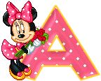 Alfabeto animado de Minnie Mouse con ramo de rosas.