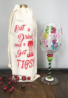 Eat Drink and Get Tipsy wine bag, Christmas Wine bag, Christmas Gift, Wine bag, Wine Label, champagne bag, Eat Drink and Be Merry, Holiday