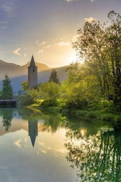 Photo Greeting Card. Traditional church of Sils facing Inn River at sunrise, Sils Maria, Engadine valley, Graubunden, Switzerland, Europe. travel, europe, travel destination, travel destinations, riverbank, flowing water, graubunden, architectural exterior, architectural exteriors, moritz, sils, sils maria. Image supplied by WorldInPrint Sils Maria, Building Exterior, Framed Prints, Canvas Prints, Poster Prints, Thing 1, Church Architecture, Travel Destinations, Travel Europe