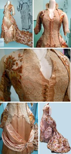 Evening dress, Worth, 1888. Peach silk brocade & Brussels lace. Basque bodice, high collar in back, train, crystal brooch on the drape front overskirt. Daughters of the American Revolution Museum and Edelweiss Patterns blog