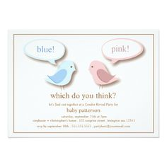 Blue or PInk Little Birds Gender Reveal Party Card
