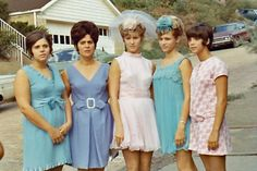 Mini skirted wedding party. 60s snapshot