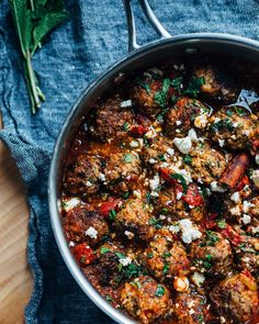 lamb meatballs in tomato sauce with mint + orange