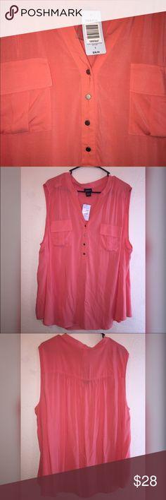 NWT Torrid 3 Sleeveless sheer coral colored Torrid top , size 3 or 3X , NWT . Very cute with a cardigan to transition into spring, or with a cami, distressed jeans and wedges ! Take this from the office to dinner ! XXXL torrid Tops Blouses