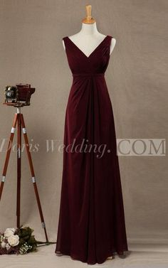 $85.85-Elegant Sleeveless A-line Chiffon Long Burgundry Bridesmaid Dress V Neck and V Back. http://www.doriswedding.com/elegant-sleeveless-a-line-chiffon-long-dress-v-neck-v-back-pET_329069.html. Find the best bridesmaid dresses at DorisWedding. We have all styles & colors, such as purple, gold, red & lace, country and country. #DorisWedding.com