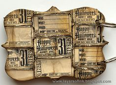 (love how she bent forward all the edges and put them tightly next to one another) All the tickets were cut out, bent and folded and the edges distressed. I glued them to mat board with matte multi medium and die cut the covers using the Ornamental die. Layers of ink: Spooky Stories Mini Book