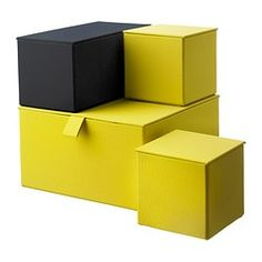 PALLRA Box with lid, set of 4 - dark yellow - IKEA.  Storage boxes for the shelves.