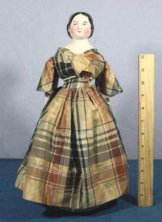 Antique Civil War Period China Head Doll w Original Silk Dress NR   eBay