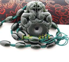 Free shipping  hand carved natural green black jade by jadeGift, $23.99