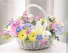 Polymerclay Адщцукы, рфтвьфву. Купить В НАЛИЧИИ Корзинка с цветами-5 - бледно-розовый, корзинка, корзинка с цветами, цветы