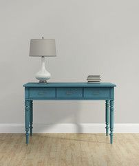 Elegant vintage chic interior with blue turquoise  console table