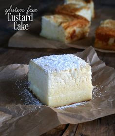 This magic gluten free custard cake creates 3 layers all by itself. The simplest ingredients make the most amazing, light and fluffy cake with a custard center! https://glutenfreeonashoestring.com/gluten-free-custard-cake/