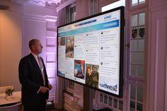 KPMG @ WEF 2015: Rob Arning, KPMG US, observes the latest tweets on #WEFLIVE in the KPMG lounge — at #Davos, Switzerland.