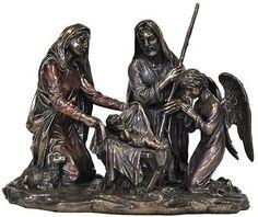 Veronese-Bronze-Figurine-Religious-Nativity-Scene-Jesus-Mary-Joseph-Statue