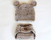 baby bear hat and diaper cover set