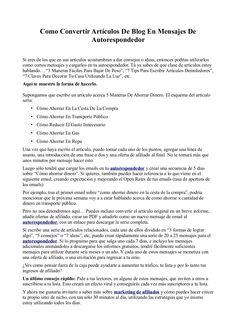 Como Convertir Artículos De Blog En Mensajes De Autorespondedor by Fernando Amaro via Slideshare