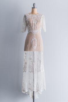 RARE Edwardian Belle Epoque Tammbour Gown   shopgossamer.com