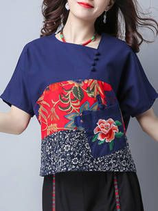 Patch Pocket Patchwork Single Breasted Fancy Floral Short Sleeve T-Shirt