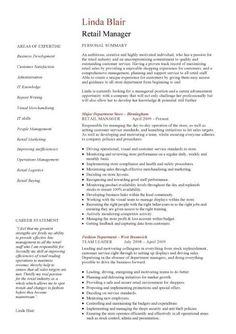 Resume For Retail Store Manager Retail CV Template, Sales Environment,  Sales Assistant CV, Shop .  Retail Management Resume Examples And Samples
