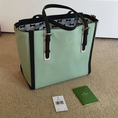 Kate Spade Bedford Square Easten Stunning bag in gorgeous mint mojito color!  100% cow leather with contrasting saffiano trim and gold tone hardware.  Handles are adjustable length, with adjustable and removable crossbody strap.  Gorgeous bow interior with center zippered compartment divider.  Has additional zipper side pocket, and 2 open pockets.  Has been stored in dust bag (included) with air paper.  Only flaws are tiny lip gloss marks in the center zippered compartment, and one dot on…