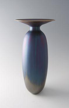 "Hideaki Miyamura, ""Vase with Blue Hare's Fur Glaze,"" porcelain. Via Pucker Gallery, Boston."