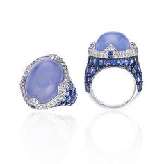 A chalcedony, sapphire and diamond ring, Asprey