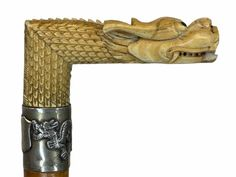 Walking stick, Dragon with ball in his mouth - Certificate - Catawiki Walking Sticks And Canes, Wooden Walking Sticks, Dragon Head, Certificate, Ivory, Carving, Pearls, Silver, Wood Carvings