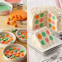 Your guests will be asking How did you get the colorful polka dots in the cake?. The secret is to place baked multi-colored cake circle cut-outs in a white cake batter then bake the white cake layers.