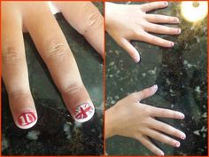 One Direction nail art.  Free hand British Flag & 1D. This didn't take long, as much as it looks like it did. Very cute if you have a 1D concert to go to,  or just because!!!  C.